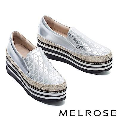 休閒鞋 MELROSE 幾何魅力異材質拼接全真皮厚底休閒鞋-銀