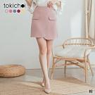 東京著衣 溫柔婉約假口袋造型多色A字短裙-S.M.L