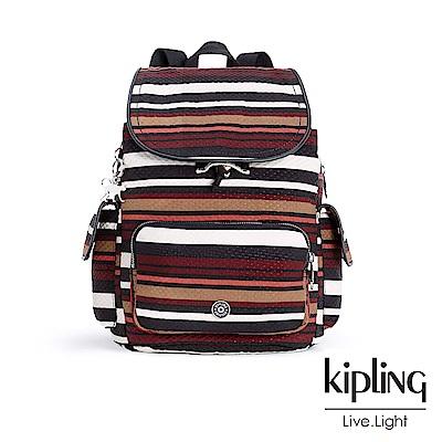 Kipling經典款條紋棕掀蓋後背包-CITY PACK S