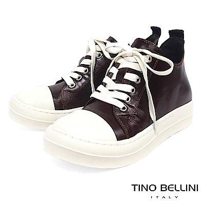 Tino Bellini青春俏皮全真皮綁帶厚底休閒鞋_咖