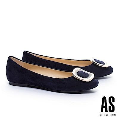 平底鞋 AS 奢華迷人方型閃鑽飾釦羊麂皮平底鞋-藍