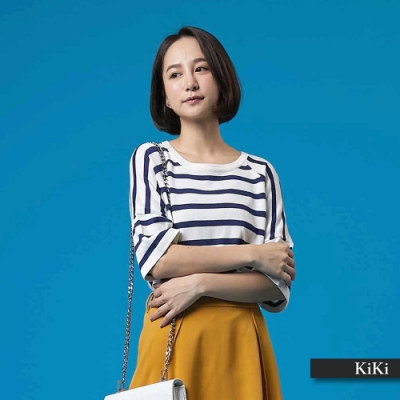 【KiKi】條紋剪裁舒適-針織衫(三色)