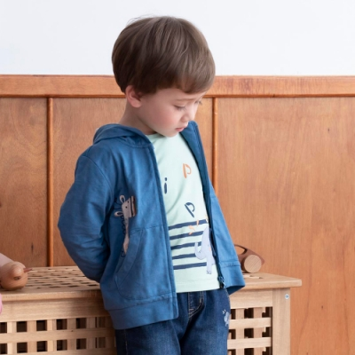 PIPPY 趣味長頸鹿連帽針織外套 藍