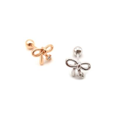 HERA 赫拉 巧思鈦鋼蝴蝶結水鑽轉珠耳環-單顆2色