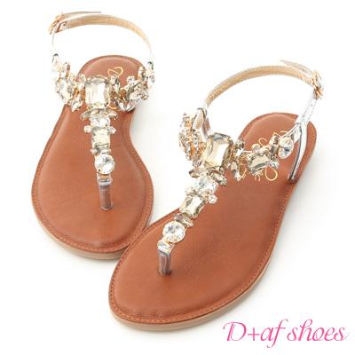 D+AF 璀璨夏日.水鑽寶石T字夾腳涼鞋*銀