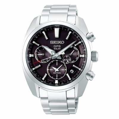 SEIKO 精工 ASTRON太陽能GPS定位雙時區手錶SSH021J1-黑銀/43mm