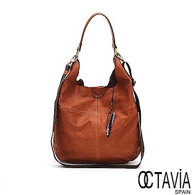 OCTAVIA 8 真皮 - 輕鬆的 ensoen歐式牛皮隨性肩背包 - 悠活棕
