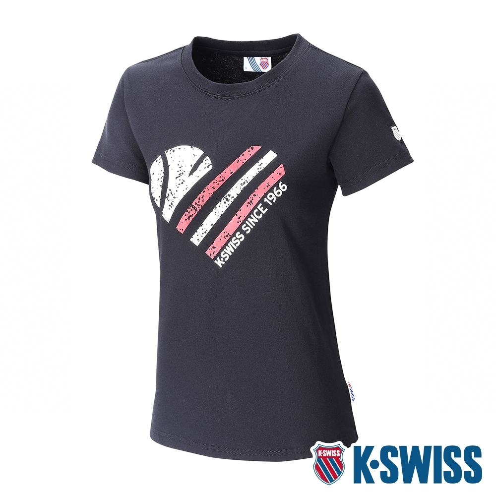 K-SWISS Tennis Ball W/Heart Tee印花短袖T恤-女-黑