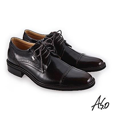 A.S.O 3D超動能 經典間約紳士鞋 茶