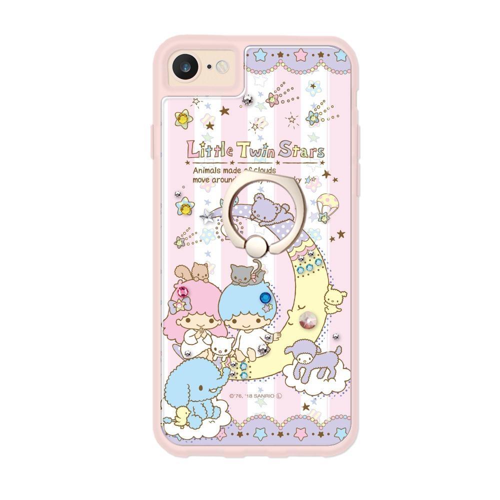 三麗鷗 Kitty iPhone SE(第二代/2020) / 8 / 7 / 6s / 6 4.7吋施華彩鑽減震指環扣手機殼-晚安雙子星