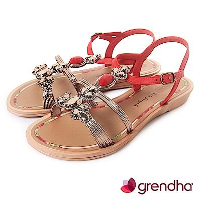 Grendha 璀璨名媛鑽飾平底涼鞋-紅色
