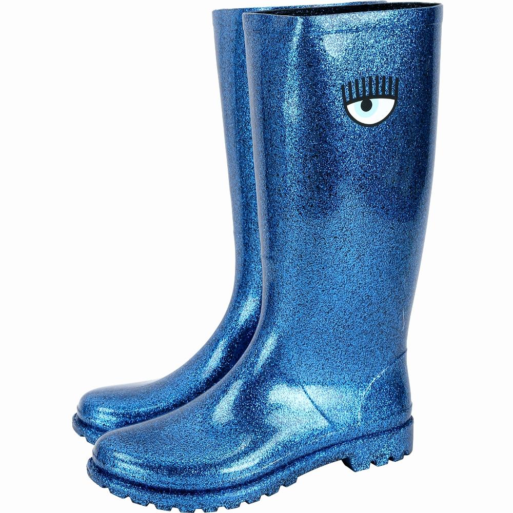 Chiara Ferragni Rainboot 眨眼圖騰長筒雨靴(亮片藍)