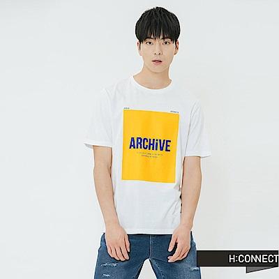 H:CONNECT 韓國品牌 男裝-活力印字圓領T-shirt-白