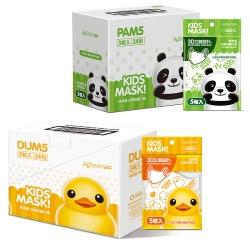 快潔適 3D立體兒童口罩-貓熊/小黃鴨(5枚入x24包/盒)