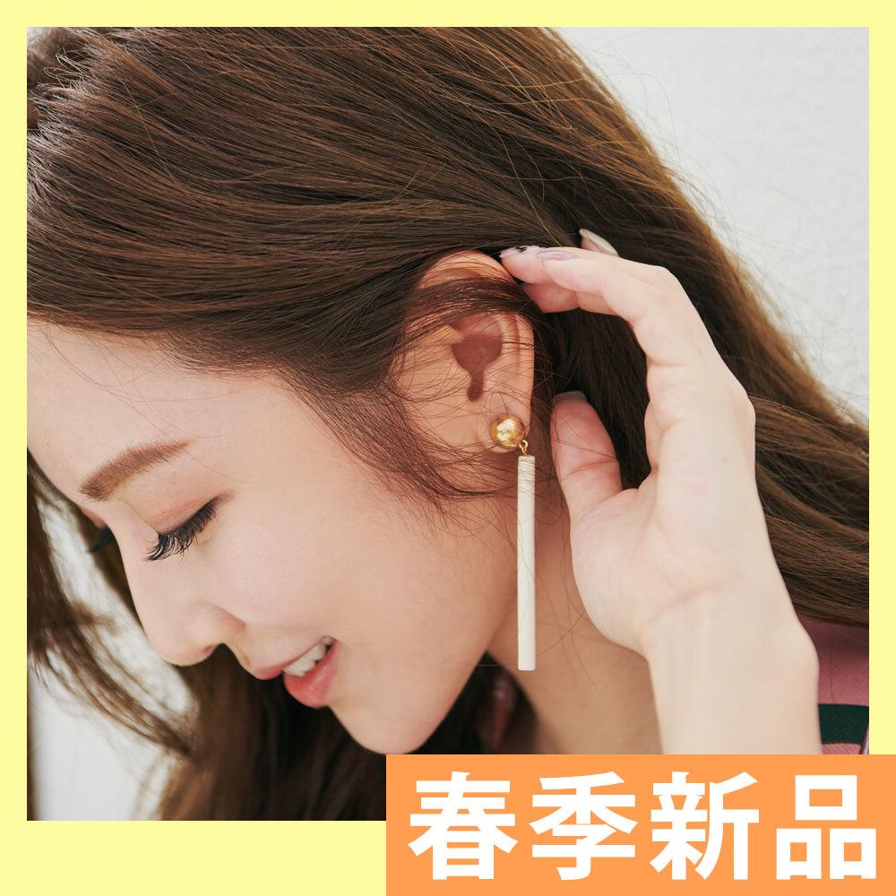 IREAL 質感米白幾何線型針式耳環
