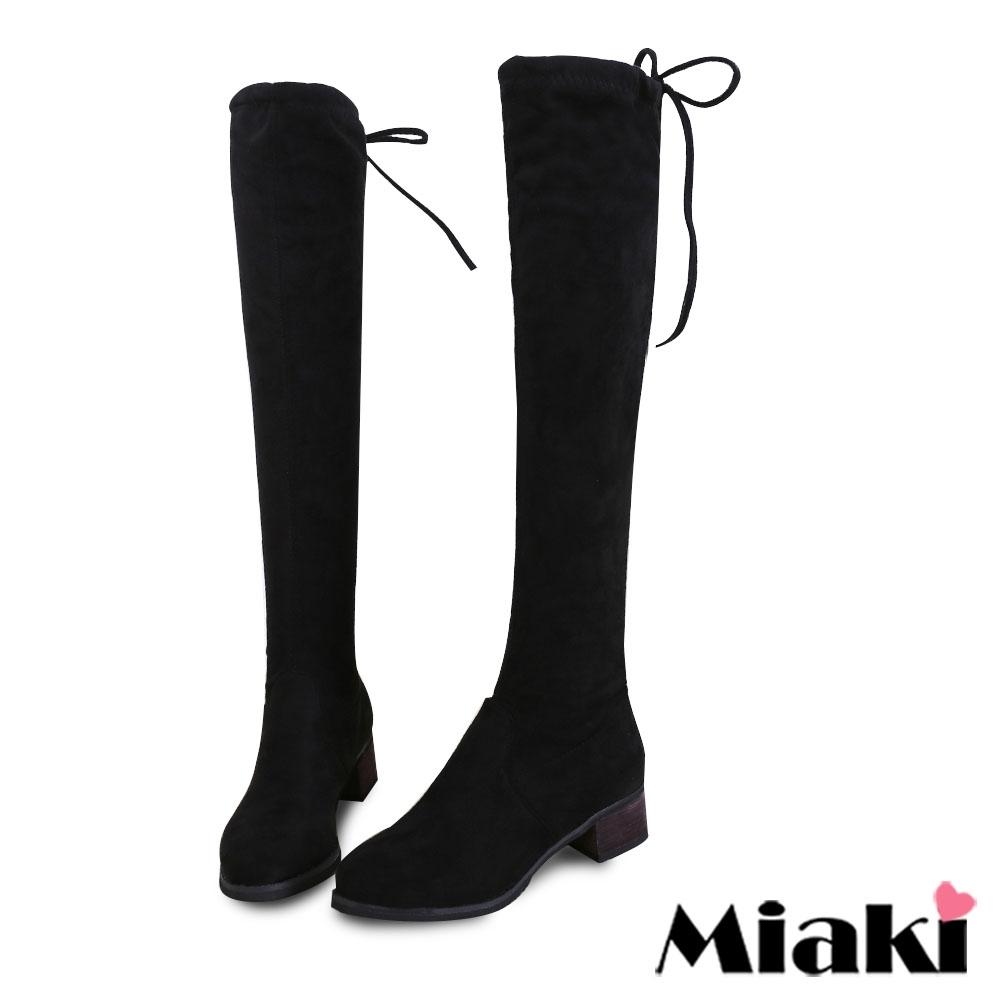 Miaki-過膝靴韓風後綁帶粗跟長靴-黑