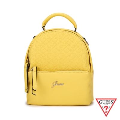 GUESS-女包-字母logo壓紋小後背包-黃