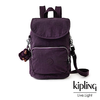Kipling深紫素面拉鍊後背包-CARAF