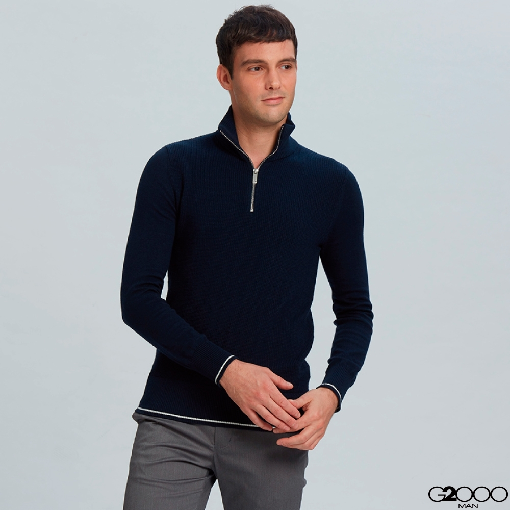 G2000拉鍊立領素面針織衫-深藍色