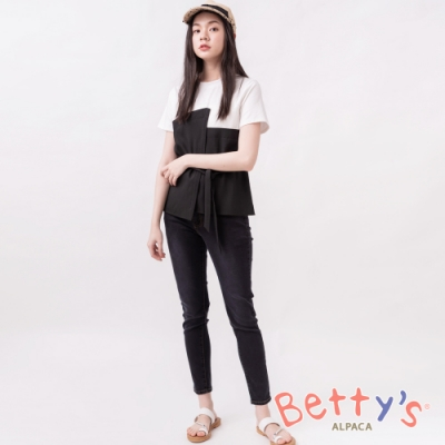 betty's貝蒂思 特殊彈性腰圍高腰排扣牛仔褲(黑色)