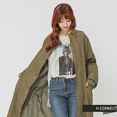 H:CONNECT 韓國品牌 女裝-口袋設計長板風衣外套-綠
