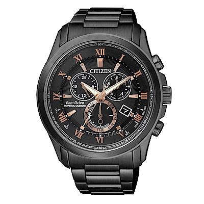 CITIZEN 紳士時尚光動能萬年曆腕錶/黑鋼/BL5545-50E