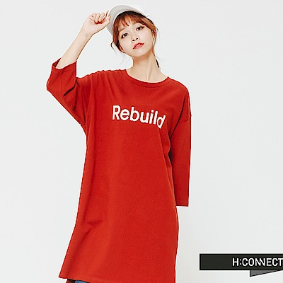 H:CONNECT 韓國品牌 女裝-正反文字側開岔洋裝-棕