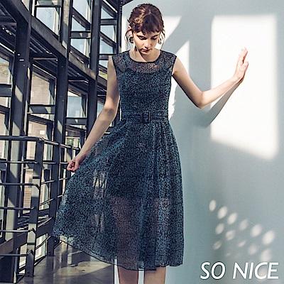 SO NICE時尚豹紋印花網紗洋裝