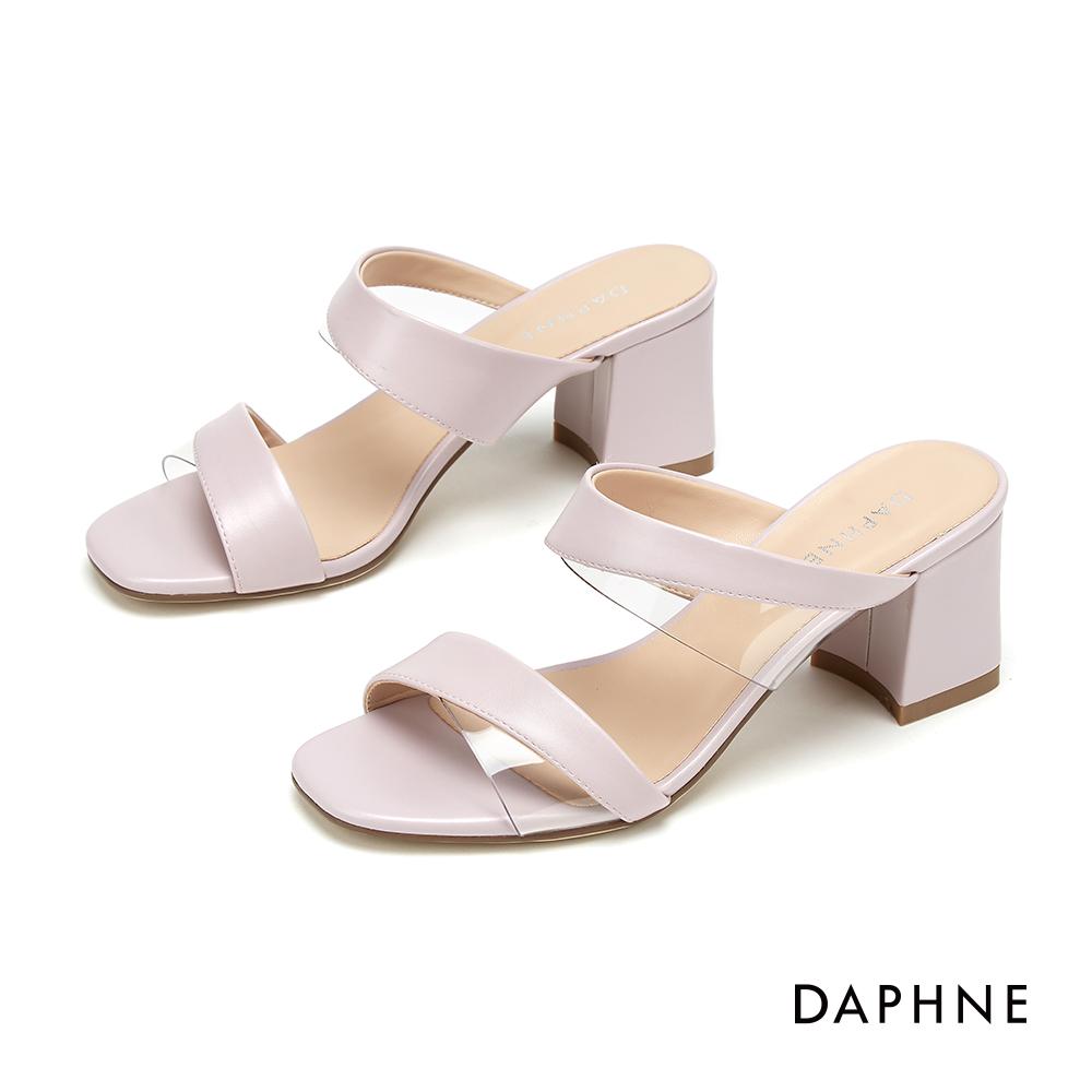 達芙妮DAPHNE 涼鞋-都會時尚幾合拚接條帶粗跟涼鞋-淺紫色