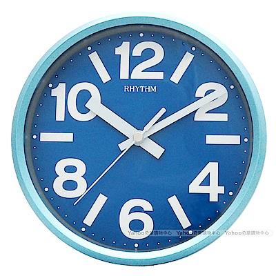 RHYTHM日本麗聲 粉彩風格座掛兩用靜音時鐘-天藍/18cm