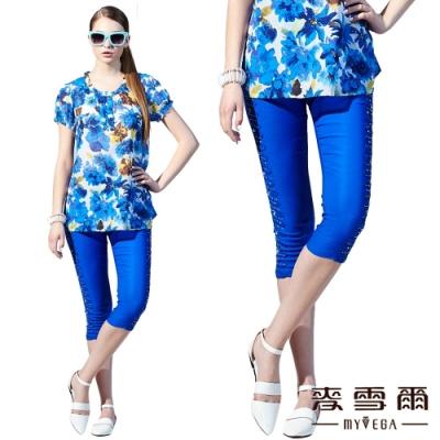 【麥雪爾】修身水鑽素色七分褲-藍
