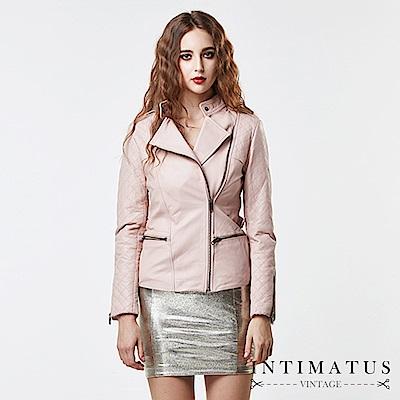 INTIMATUS 真皮 華麗菱格紋拼接立領小羊皮皮衣 淡雅粉紅