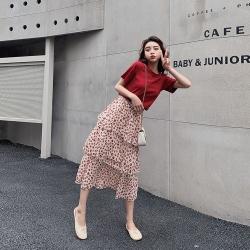 IMStyle 韓版時尚休閒T恤+高腰碎花蛋糕裙 兩件式【正品】