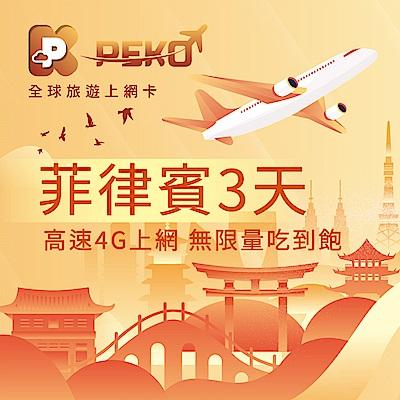 【PEKO】菲律賓上網卡 3日高速4G上網 無限量吃到飽 優良品質 快速到貨