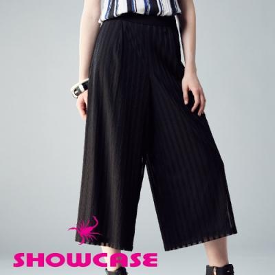 【SHOWCASE】俐落都會網布空氣感顯瘦寬褲(黑)
