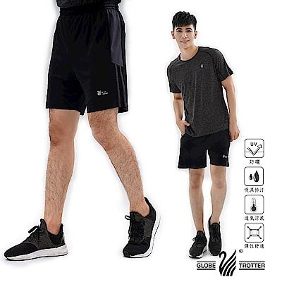 【遊遍天下】MIT男款吸濕排汗休閒運動短褲P0001黑灰