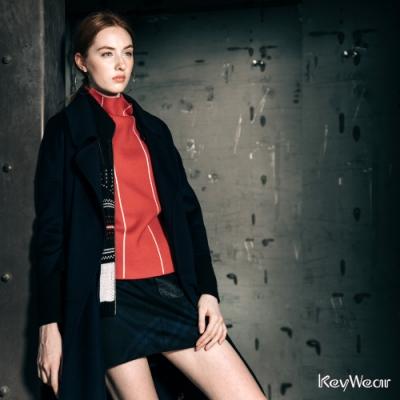 KeyWear奇威名品    經典格紋短裙-深藍色