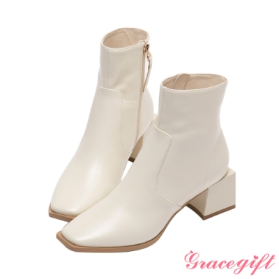 Grace gift X玄玄-聯名La La Land方形中跟短靴 米白