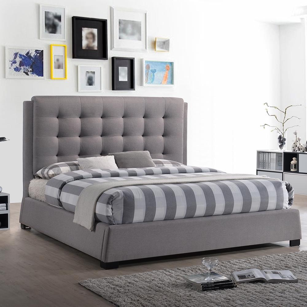 【AT HOME】日式簡約風5尺深灰布雙人床(不含床墊)-莫札特