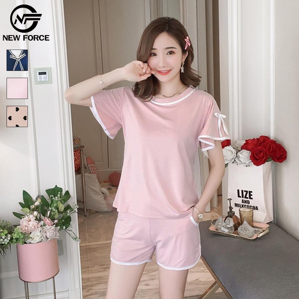 NEW FORCE 短袖淡雅蝴蝶結兩件式居家服-粉色
