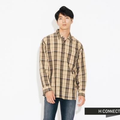H:CONNECT 韓國品牌 男裝-亮眼格紋復古襯衫-卡其