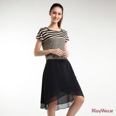 KeyWear奇威名品    法式優雅條紋拼接短袖洋裝-黑色