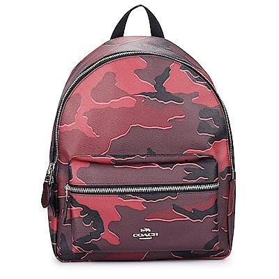 COACH 馬車LOGO 迷彩圖案前口袋手提/後背包-中/紫紅色