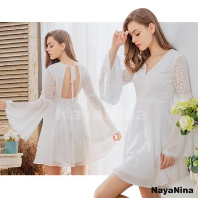 Naya Nina 歐式蕾絲喇叭袖雪紡美背居家洋裝睡衣-白F