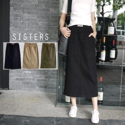 SISTERS 很顯瘦的素色後開衩鬆緊腰牛仔長裙/共三色