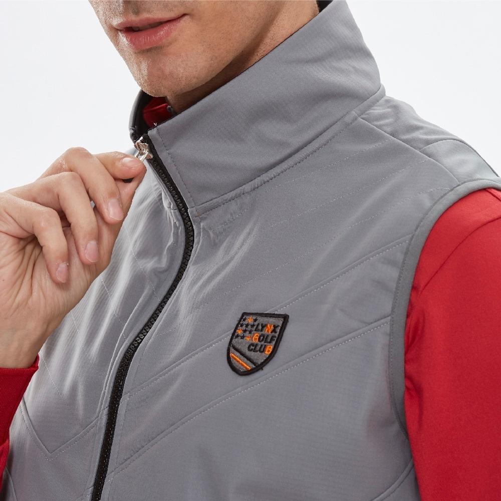 【Lynx Golf】男款三層貼合防水防風保暖盾型繡花無袖背心-灰色