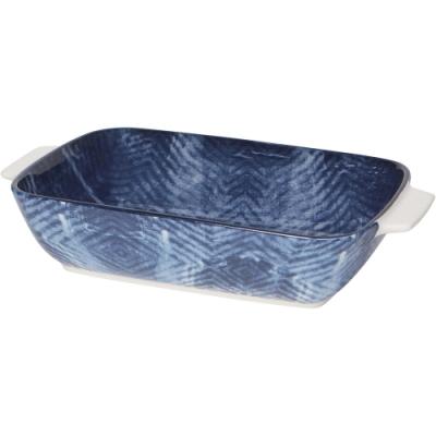 《NOW》圖騰陶瓷長形深烤盤(藍染23cm)