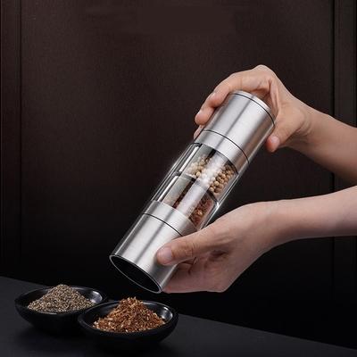 PUSH!餐廚用品不銹鋼雙頭研磨胡椒研磨器調味瓶咖啡研磨器花椒磨粉器D276