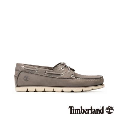 Timberland 男款中灰色磨砂革帆船鞋|A26QH