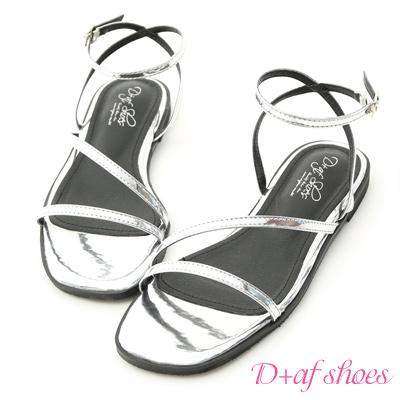D+AF 完美品味.一字斜帶繫踝平底涼鞋*銀